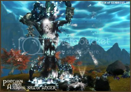 Rioriel and Nevik's daily World of Warcraft screenshot presentation of significant locations, players, memorable characters and events, assembled in the style of a series of collectible postcards. -- Postcards of Azeroth: Sha of Anger