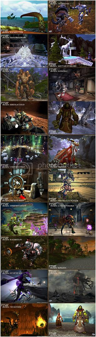 Rioriel and Nevik's daily World of Warcraft screenshot presentation of significant locations, players, memorable characters and events, assembled in the style of a series of collectible postcards. -- Postcards of Azeroth: Cataclysm Review, Mists of Pandaria Launch Night